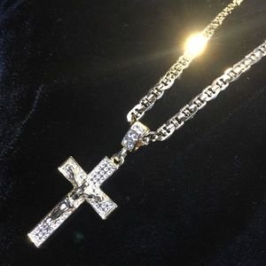 Other - CROSS 18K GOLD FULL DIAMONDS CZ CHAIN ITALY
